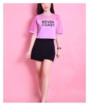 Raabta Pink NEVER COAST short top with net yoge
