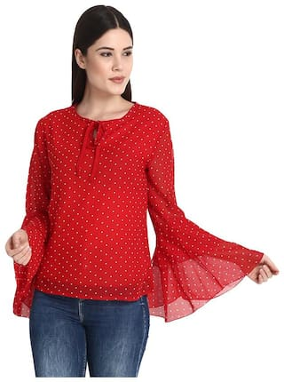 Raabta Fashion Women Polka dots Regular top - Red