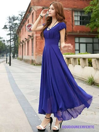 Long Raabta Royal Blue Cape Dress Sleeve With qq1EFUr