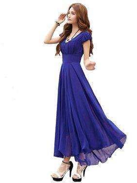 Raabta Royal Blue Long Dress With Cape Sleeve