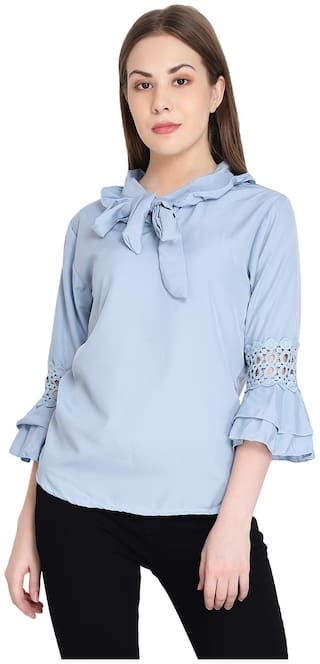 Raabta RWT-11070 Sky Blue Tie Top With Les Bell Sleeve Top