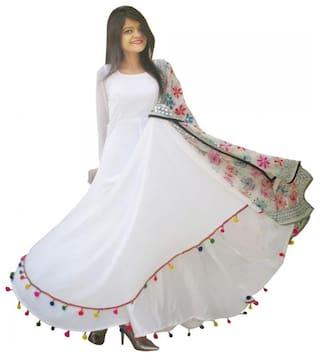 Raabta Fashion White Solid Fit & flare dress