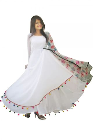 Pom Long Dress White multicolor Border Pom with Raabta C1vXqxAwf