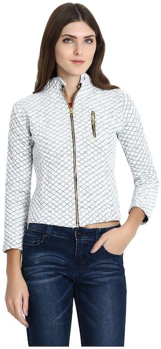 Raabta Fashion Women Solid Quilted Jacket - White