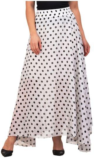 Raabta Fashion Polka dots Flared skirt Maxi Skirt - White