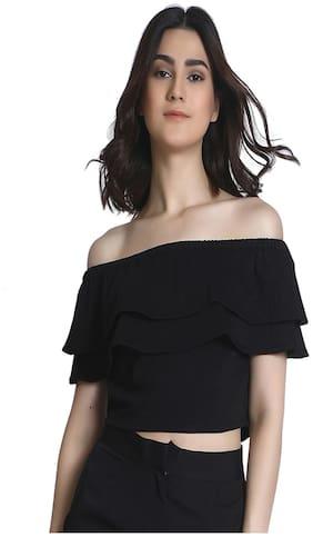Raaika Women's Black Cotton Jersey Off Shoulder Crop Top