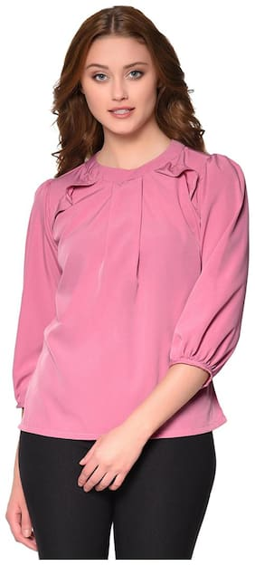 Raaika Women's Solid Pink Frilled Regular Top