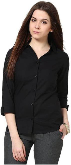 RAFFLESIA TOLPIS Women Regular fit Solid Shirt - Black
