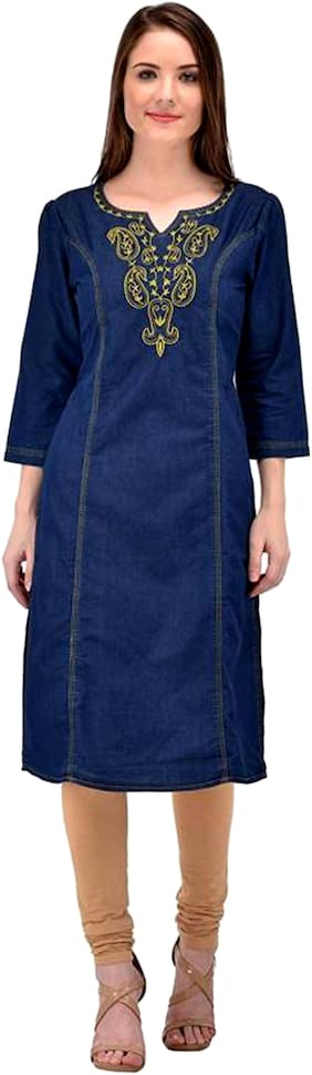 Rafflesia Tolpis Branded Denim Casual Embroidered Blue Kurti