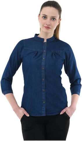 RAFFLESIA TOLPIS Women Regular Fit Solid Shirt - Blue