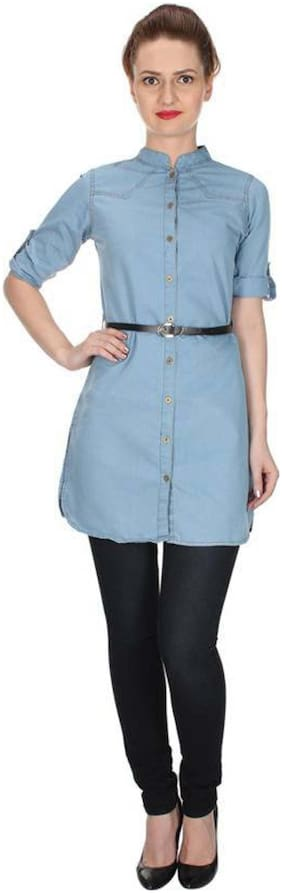RAFFLESIA TOLPIS Blue Solid Fit & flare dress