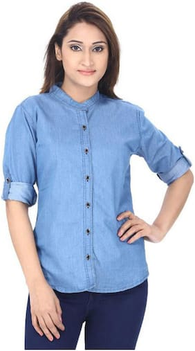 RAFFLESIA TOLPIS Women Blue Solid Regular Fit Shirt