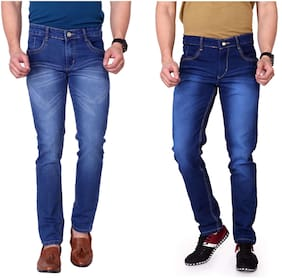 Ragzo Men`s Multicolor Slim Stretchable Jeans ( Pack of 2 )