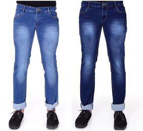 Ragzo Mens Multicolor Slim Stretchable Jeans ( Pack of 2 )