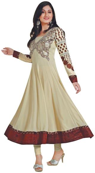 Rahi fashion Satin Printed Dress Material for Kurta & Bottom - Brown