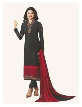 Rahi fashion Crepe Printed Dress Material - Black
