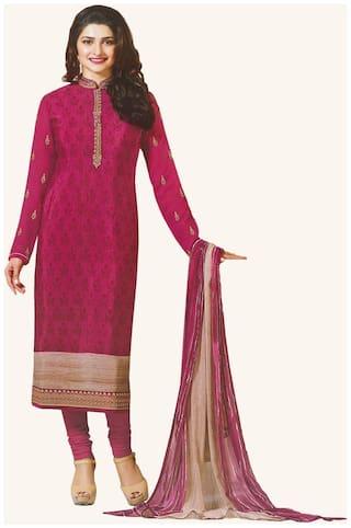 Rahi fashion Crepe Printed Dress Material for Kurta, Bottom & Dupatta - Pink