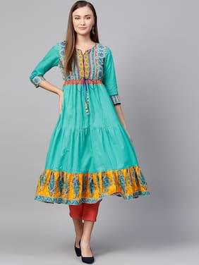 Rain and Rainbow  Kurtas & Kurtis Cotton Ethnic Motifs Green Color