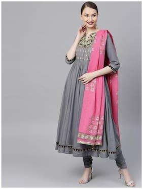 RAIN and RAINBOW Women Cotton Printed Anarkali Suit Set Grey