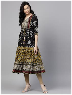 f0b68c6409b Rain and Rainbow Kurtas & Kurtis Cotton Bandhani Black Color