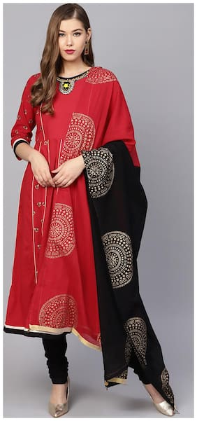 Rain And Rainbow Cotton Embroidery Flared Fit Suit Set - Red;Black