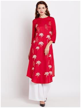 RAIN and RAINBOW Women Rayon Printed Straight Kurta - Red