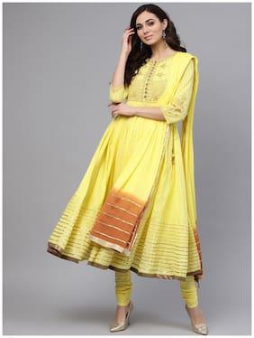 RAIN and RAINBOW Women Yellow Printed Anarkali Kurta With Churidar And Dupatta
