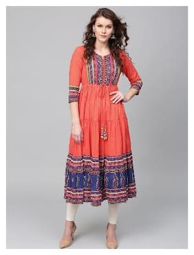 Rain and Rainbow Red Printed Kurta