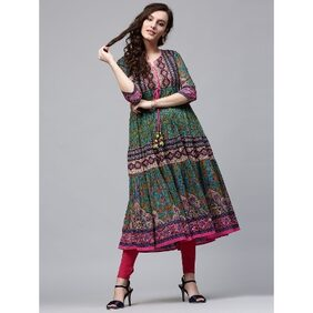 Rain and Rainbow Green Kurta