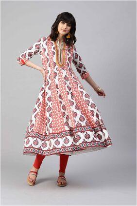 RAIN and RAINBOW Women Cotton Printed Anarkali Kurta - Red