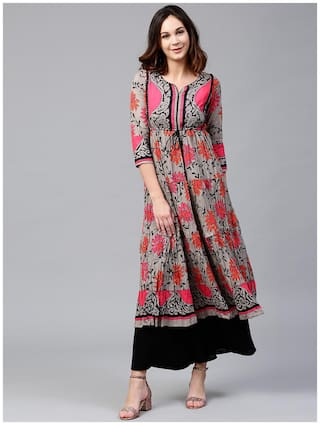 RAIN and RAINBOW Women Cotton Printed A line Kurta - Grey