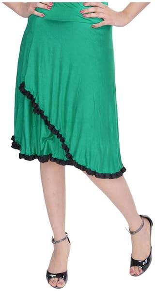 Rajasthani Sarees Solid Midi Skirt - Green