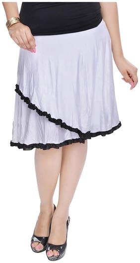 Rajasthani Sarees Solid Midi Skirt - White