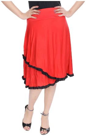 Rajasthani Sarees Solid Midi Skirt - Red