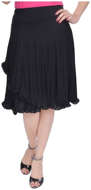 Rajasthani Sarees Solid Midi Skirt - Black
