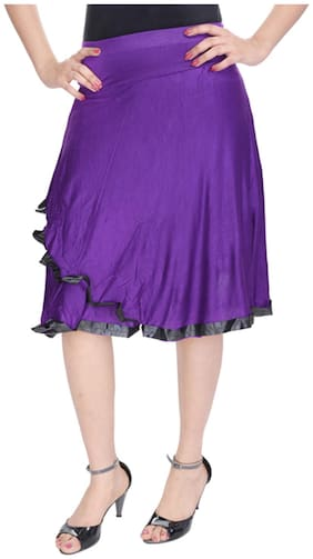 Rajasthani Sarees Solid Midi Skirt - Purple