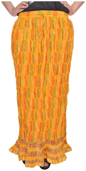 Rajasthani Sarees Printed Maxi Skirt - Orange