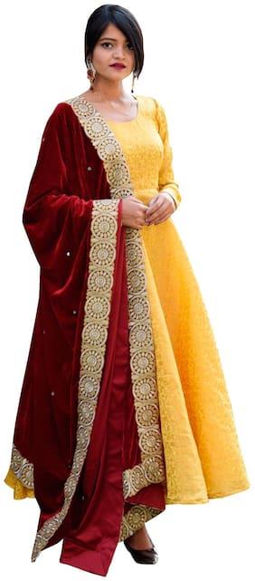 Rajkumari dress up like a princess Women Yellow Embroidered Anarkali Kurta