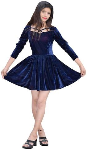 Rajkumari dress up like a princess Blue Solid Fit & flare dress