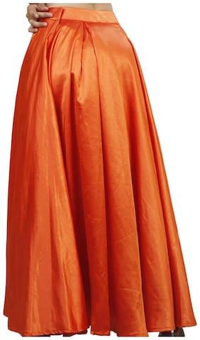 Rajkumari dress up like a princess Solid Flared skirt Maxi Skirt - Orange