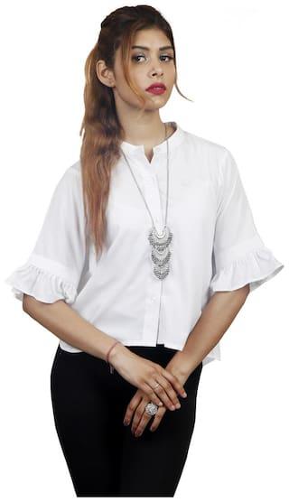 Rajkumari dress up like a princess Women White Solid Regular Fit Shirt
