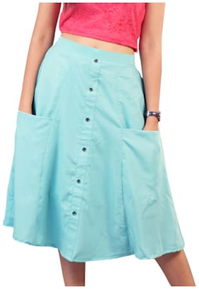 Rajkumari dress up like a princess Solid Flared skirt Midi Skirt - Sea green
