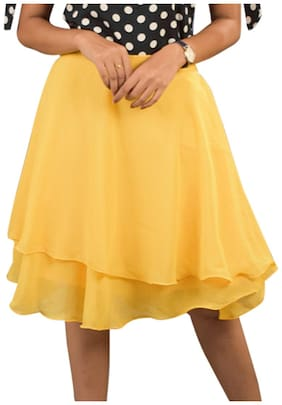 Rajkumari dress up like a princess Solid Flared skirt Mini Skirt - Yellow