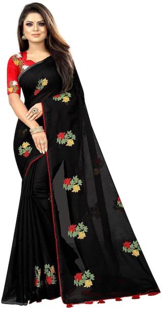 Rajnandini Black Chanderi Cotton Embroidered Party Wear Saree