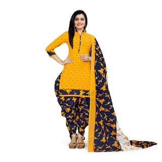 Rajnandini Cotton Blend Yellow Floral Stitched Suits For Women