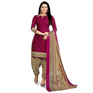 Rajnandini Cotton Blend purple Printed Stitched Suits For Women