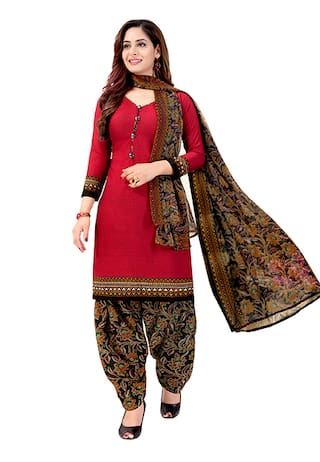 Rajnandini Cotton Blend Red Geometric Stitched Suits For Women
