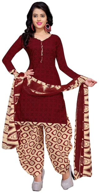 Rajnandini Maroon Cotton Printed Unstitched Dress Material