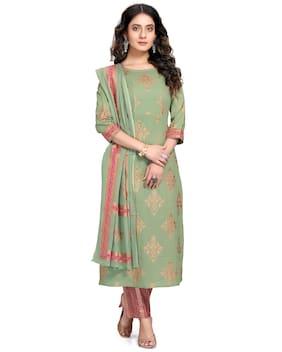 Rajnandini Women Green Floral Straight Kurta With Pants And Dupatta
