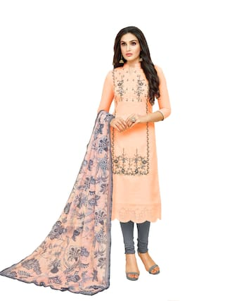 Rajnandini Peach Unstitched Kurta with bottom & dupatta With dupatta Dress Material